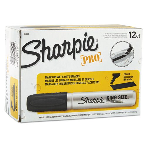 Sharpie Pro King Size Permanent Markers, Chisel Tip, Black, Case of 12 Dozens by Sharpie