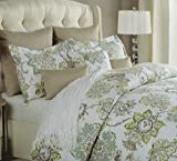 Cynthia Rowley 3pc Duvet Cover Set Large Floral Jacobean Flowers Paisley Scroll Gray Grey Turquoise Taupe Mustard Yellow Luxury Cotton Sateen (Full/Queen)