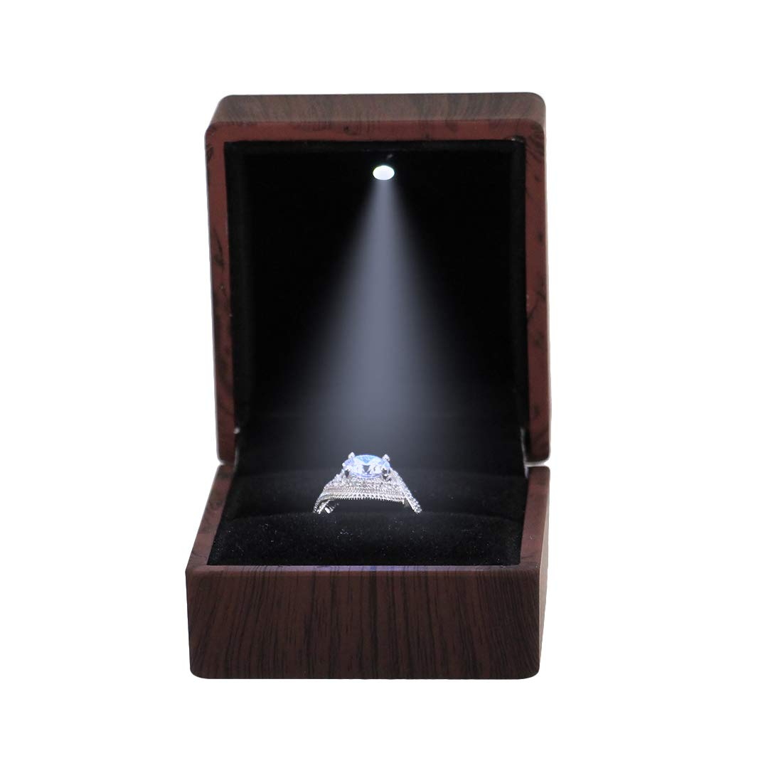 Multifit Square Shape LED Light Rubber Proposal Engagement Ring Jewelry Coin Box Light Color