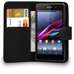 Mobi Plus Caso del tirón del Sony Xperia Z1 Negro Cartera de cuero bolsa de la cubierta