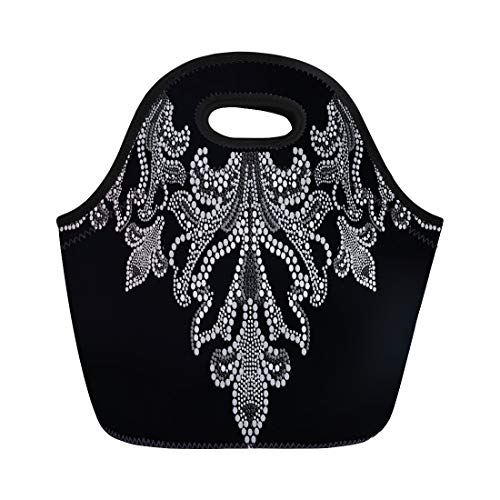 - Semtomn Neoprene Lunch Tote Bag Silver Applique Rhinestone Crystal Abstract Brilliant Brooch Diamond Jewel Reusable Cooler Bags Insulated Thermal Picnic Handbag for Travel,School,Outdoors,Work