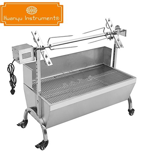 90cm Commercial Hog Roast Machine BBQ Spit Chicken Pig Roaster With 60kg Roasting Motor and Windshield (110V) by Huanyu Instrument