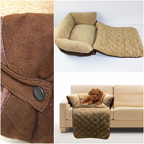 1Pc Howling Popular Pet Sofa Bed Size L Suede Fabric Warm Blanket Dog Couch Color Brown