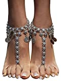 Bienvenu 2 Pcs Antique Silver Coin Anklet Chain Beach Wedding Barefoot Sandals Fashion Jewelry,Silver_Style 10