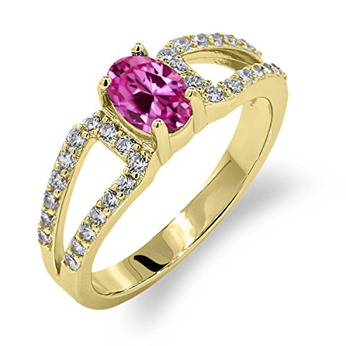 1.48 Ct Oval Pink Created Sapphire 18K Yellow Gold Plated Silver Ring by Gem Stone King