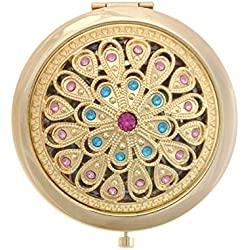 ALICE Gleamy Boutique Golden Compact Mirror, Purse Mirror, Folding Mirror