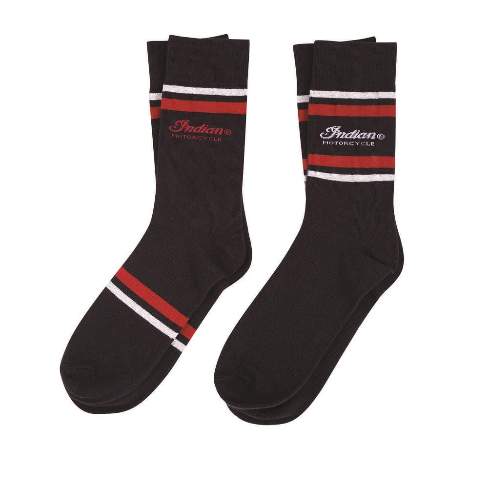 Indian Motorcycle Men's Mid-Calf Socks, 2 Pack, Black by Generic