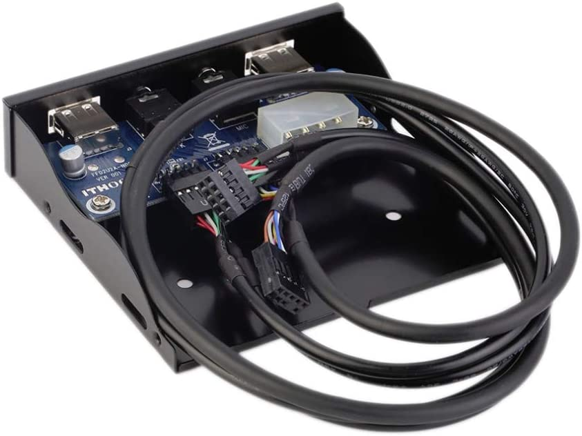 HD Audio Output Floppy Drive Expansion Front Panel New Computer Cables Hot Worldwide 3.5 2-USB 2.0 Port HUB CN, Cable Length: 60cm