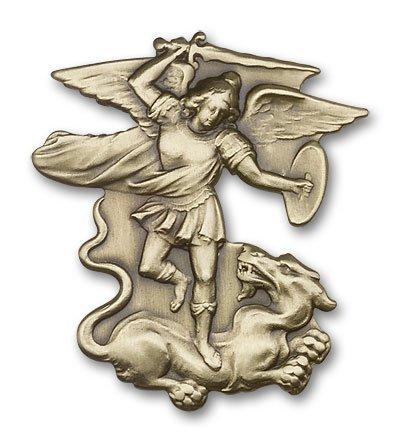Antique Gold Tone St Michael the Archangel Visor Clip Bliss 4350408495