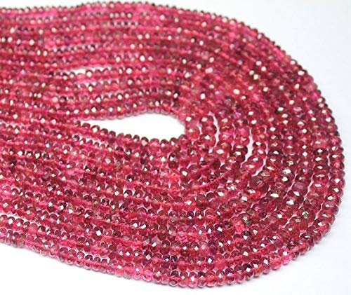 Beads Bazar Natural Beautiful jewellery Natural Red Pink Watermelon Tourmaline Rubellite Faceted Rondelle Micro Gemstone Craft Loose Beads Strand 8