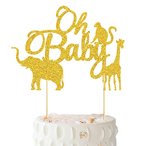 Vodolo Glittery Wild Animal Cake Topper, Jungle Theme Party Supplies Elephant/Monkey/Giraffe Cake Pick for Baby Shower Wedding Happy Birthday Parties Decorations]()