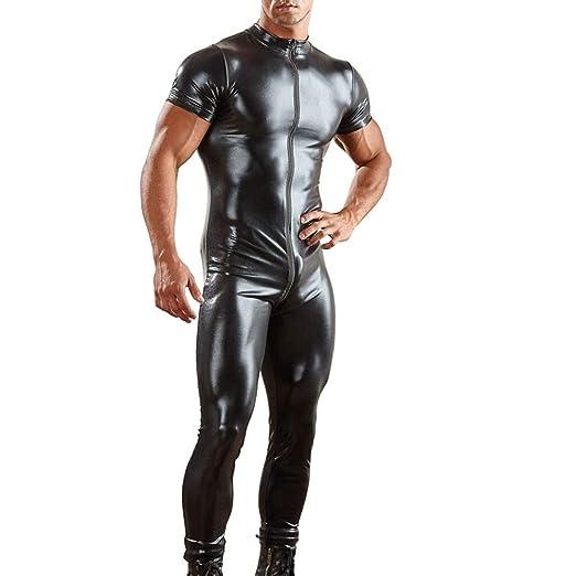 Mymyguoe Ropa Interior Sexy para Hombre de Cuero Artificial Entrepierna Abierta Body Calzoncillos Conjunto de lencería para Hombre de Cuero Artificial con ...