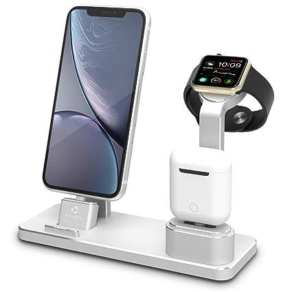 ATOPHK Aluminio Reloj Cargando Estar para AirPods Cargador Muelles Estación Compatible para Apple Reloj 4/3/2/1 / AirPods/iPhone xs max/xs/xr/X / 8/8 ...