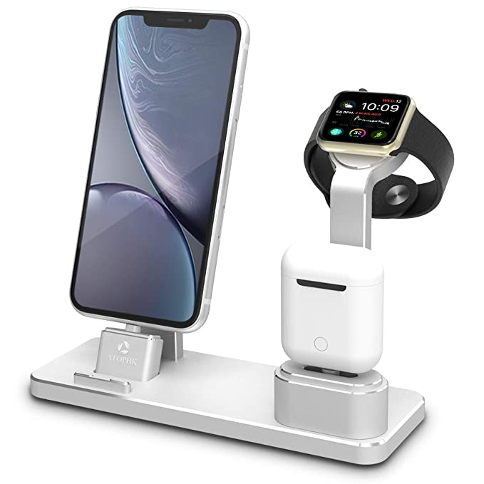 finest selection cdb45 39fd7 ATOPHK Aluminum Watch Charging Stand AirPods Stand Charging Docks Station  Compatible for Apple Watch Series 4/3/2/1/ iPhone Xs Max/XR/X/8/8Plus/7/7  ...
