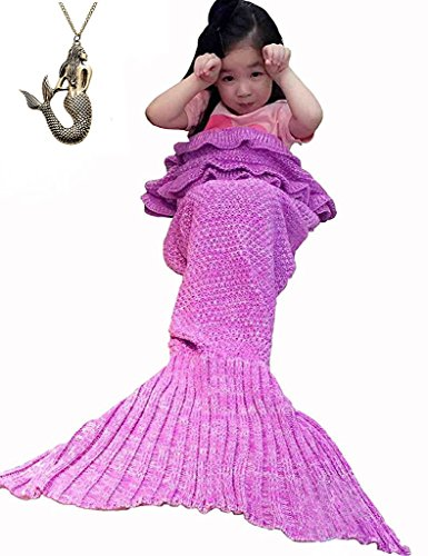 [URSKY Crochet Knitted Sofa Living Room Mermaid Tail Blanket, Cozy and Soft All Season Mermaid Tail Pattern Throw Sleeping Bag For Adult, Teens and Child (55