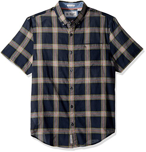 Original Penguin Men's Short Sleeve Plaid On Textured Lawn, Dark Sapphire, Extra (Cotton Lawn Short Sleeve Shirts)