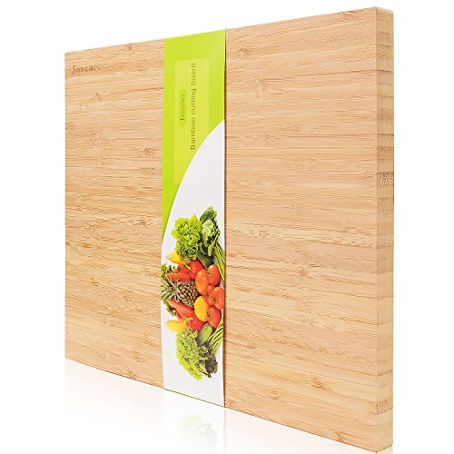 No-Glum Organic Bamboo Cutting Board by JASZMER Double-Sided Glue-free Natural Kitchen Bamboo Chopping Board with Handle and Mouldproof Design for Fruits Meat Vegetable Pizza, 17.72×12.60×0.71 inch Bamboo Striped Cutting Board