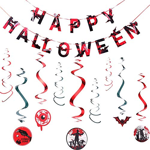 Happy Halloween Banner and Blood Swirl Hanging Decorations(Pre-Strung) : Zombie Vampire Blood bat Ghosts Eye,Halloween Decoration Supplies for Halloween Party (Red&Black) -