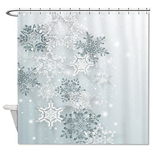 Yilooom Snowflake Winter Shower Curtain Polyester Waterproof Shower