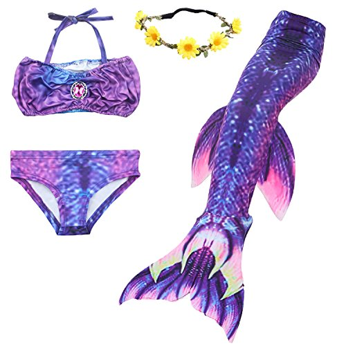 ONMet 3 Pcs Girls Swimsuit Swimmable Mermaid Fishtail Princess Bikini Tankini Swimwear Set For 3-10 Year Toddler Girls (XXL(8-10Y), - Swimsuits Made What Of Material Is Out