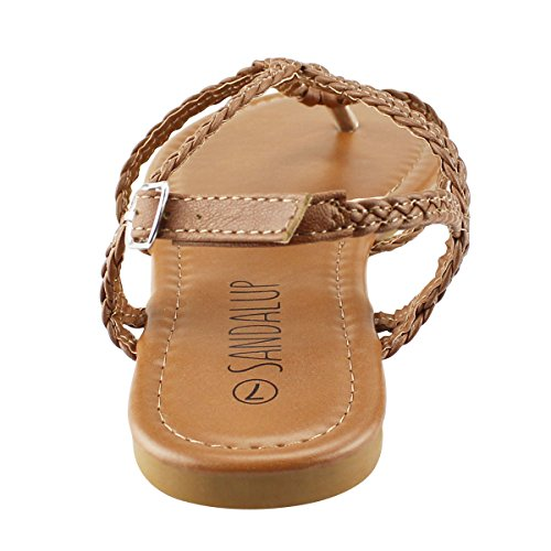 Sandalup Women's Braided Strap Thong Flat Sandals Brown 08