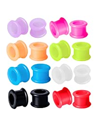 Silicone Tunnel Plug 0G Kit Silicone Double Flare 8mm, 0 Gauge (16 Pieces)