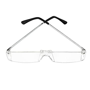 dadf19193c Image Unavailable. Image not available for. Color  Clear Rimless Reading  Glasses - Choose from 1.00 to 4.00 Diopter - Tough Acrylic Lenses