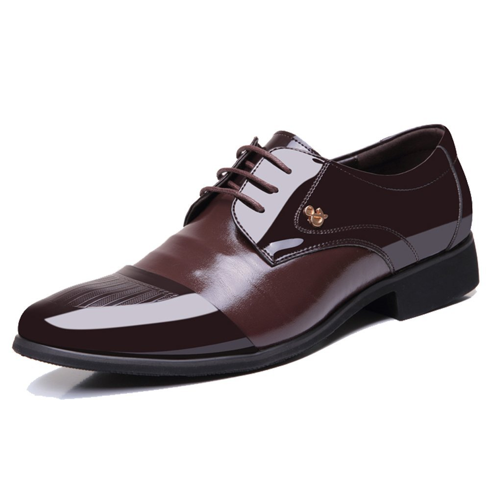OUOUVALLEY Mens Patent Leather Tuxedo Dress Shoes Lace up Pointed Toe Oxfords 1877 Brown 8.5D(M) US