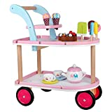 ice cream cart for adults - Pretend Play Wooden Ice Cream Cart Set for Kids Toddlers Boys and Girls