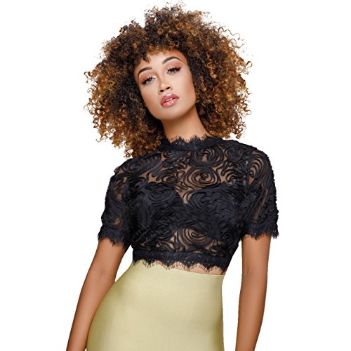 df0deddc78c5c Felicity Young Women Sexy Short Sleeve Sheer See Through Mesh Lace ...