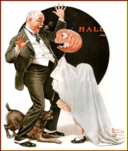 (Norman Rockwell: Hallowe'en, Vintage Old Art Print, 1920, 11.1/2 X 15)