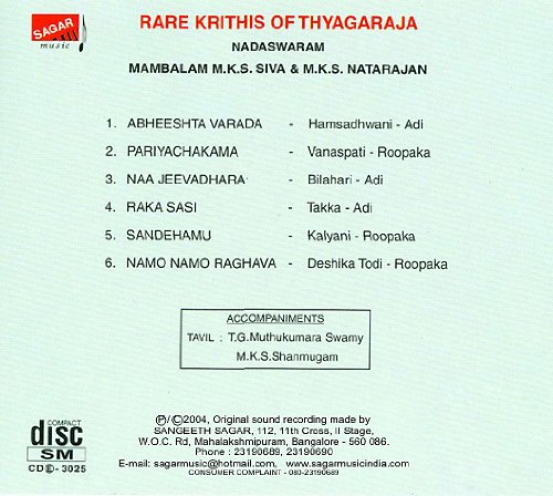 Buy Rare Krithis of Thyagaraja Online at Low Prices in India