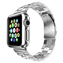 Apple Watch Band, Eoso Solid Stainless Steel Metal Apple Watch Strap with Durable Folding Clasp for iWatch(Stainless Steel Silver,42mm)