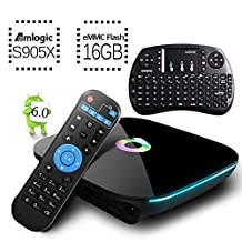 [Free Mini Keyboard] 2017 Model Globmall Android 6.0 TV Box, QBox Android TV Box Amlogic S905X 64 Bits 16GB ROM and True 4K Playing