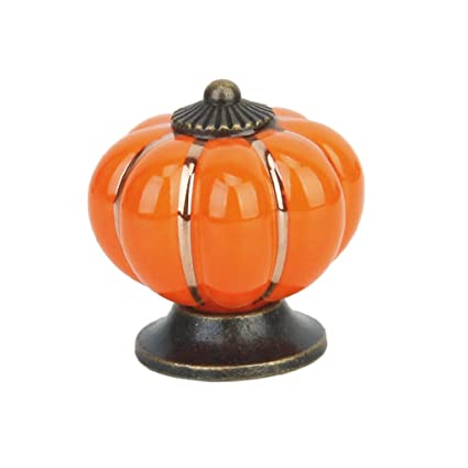 Miss and Mams Cute Pumpkin Drawer Cabinet Bin Dresser Cupboard Pull Knob Handle with Screw Orange