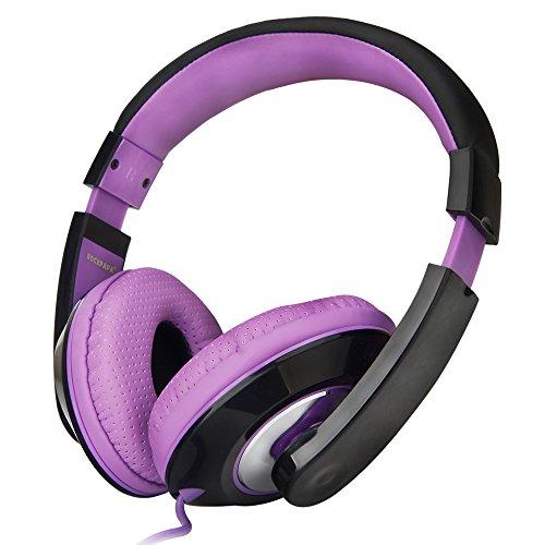 Rockpapa 782 DJ Style Stereo Headphones Adjustable Headband 3.5mm for Cellphones Ipod Ipad Iphone Laptop Computer Mp3/4 Tablets Earphones (Black/Purple)