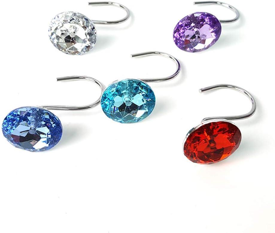 Azul Vosarea 12 Piezas de acr/ílico Ducha Cortina Anillos Forma de Diamante Ganchos Cortina Cortina Gancho Decorativo Gancho