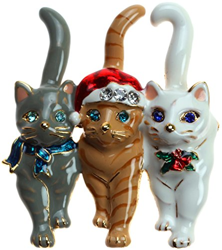 Lova Jewelry Christmas Triple Cat Pin ()