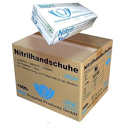 SFM ® SOFTLIGHTS Nitril : XS, S, M, L, XL blau puderfrei F-tex Einweghandschuhe Einmalhandschuhe Untersuchungshandschuhe Nitr