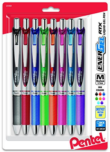 Pentel EnerGel RTX Retractable Liquid Gel Pen, Medium Line, Metal Tip, Assorted Ink, 8-Pack (BL77BP8M) (Pentel Liquid Gel Ink Pen)