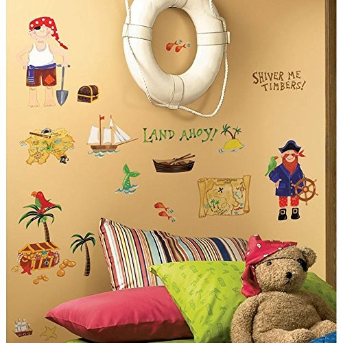 Sticker Treasure - 45 New TREASURE HUNT WALL DECALS Pirates Bedroom Stickers Kids Room Decorations