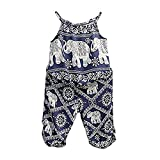 2Pcs/Set Kids Baby Girls Elephant Jumpsuit Romper, Straps Tops+Harem Pants Outfit (5-6 Years, Blue)