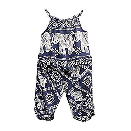 2Pcs/Set Kids Baby Girls Elephant Jumpsuit Romper, Straps Tops+Harem Pants Outfit (5-6 Years, Blue)