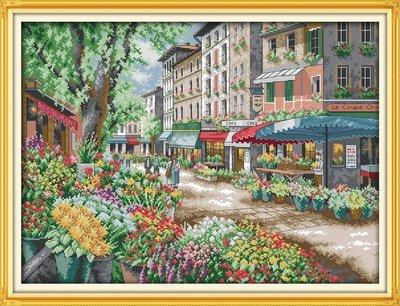 Joy Sunday Cross Stitch kits, Paris flower market,11CT Stamp