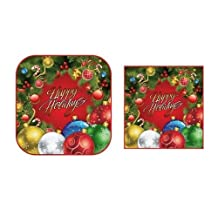 """Holiday Party Wreath with Ornaments Square Paper Dinner Plates and Napkins Party Pack (8 - 9"""" Plates, 16 Lunch Napkins)"""