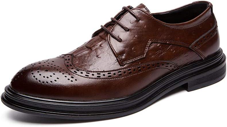 Z.L.FFLZ Zapatos Oxford Shoes For Men Brogue Shoes Lace Up Style Microfiber Leather Classic Business, Suela grabada Los Zapatos de Cuero (Color : Black, Size : 43 EU)