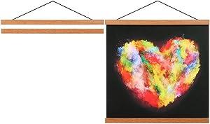 Lanpn Magnetic Poster Hanger, Wood Wooden Magnet 11x17 11x14 11x22 Poster Frame Hangers Hanging Kit for Wall Dowel Print Scratch Off Map Artwork (11