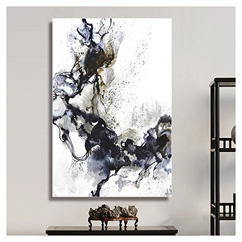 Abstract Black Ink on White Background Watercolor Painting Style Art Reproduction