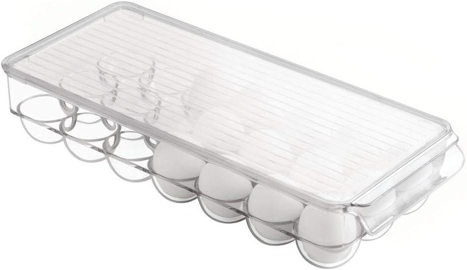 mDesign Juego de 3 cajas de almacenamiento de pl/ástico transparente Caja organizadora con asa y dise/ño abierto para latas etc pasta Ideal para la cocina o como caj/ón organizador de frigor/ífico