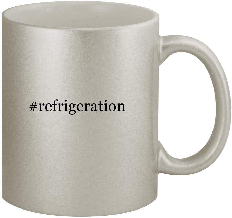 #refrigeration - 11oz Hashtag Silver Coffee Mug Cup, Silver